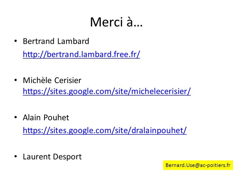 Merci à… Bertrand Lambard http://bertrand.lambard.free.fr/ Michèle Cerisier https://sites.google.com/site/michelecerisier/ https://sites.google.com/si