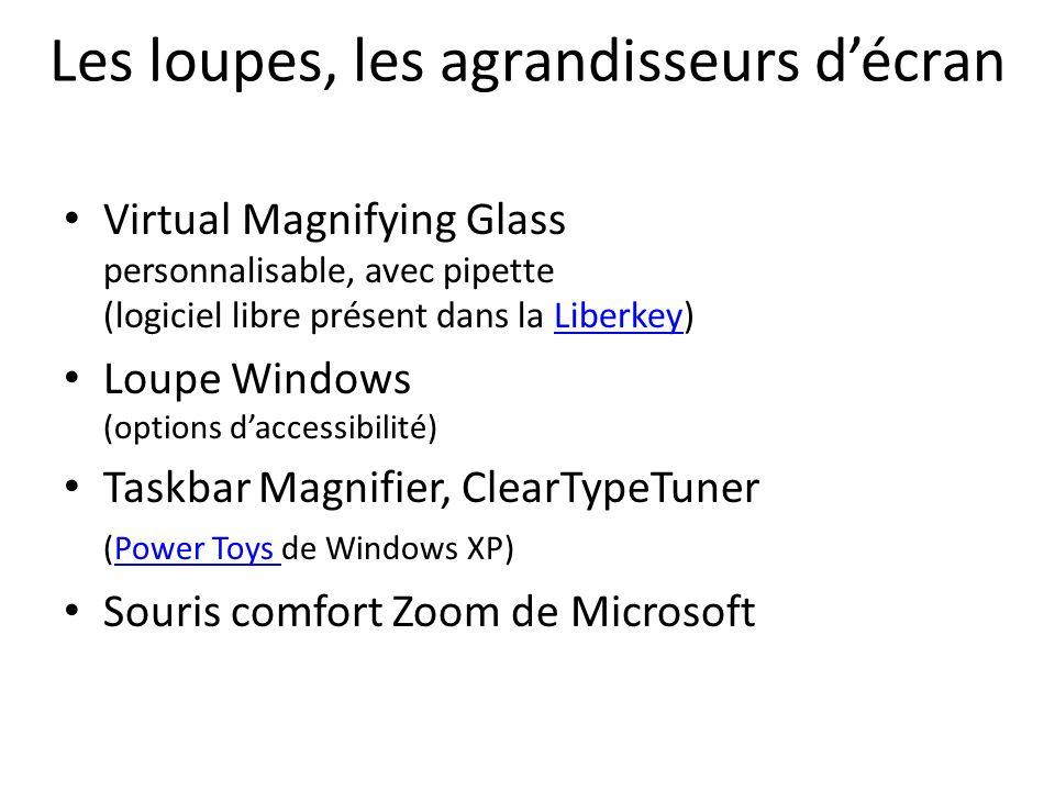 Les loupes, les agrandisseurs décran Virtual Magnifying Glass personnalisable, avec pipette (logiciel libre présent dans la Liberkey)Liberkey Loupe Wi