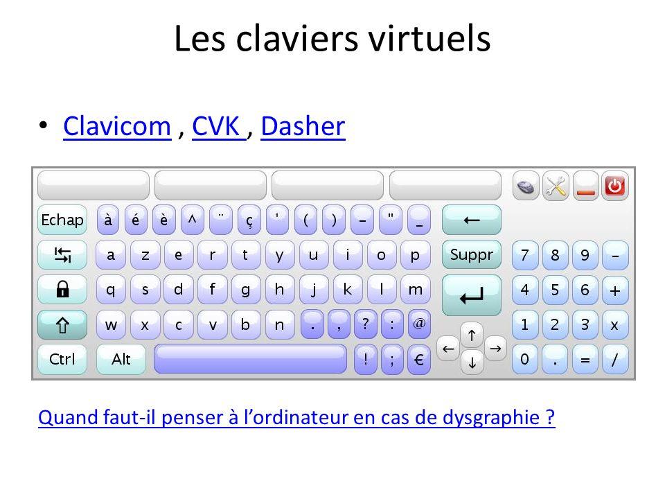 Les claviers virtuels Clavicom, CVK, Dasher ClavicomCVK Dasher Quand faut-il penser à lordinateur en cas de dysgraphie ?