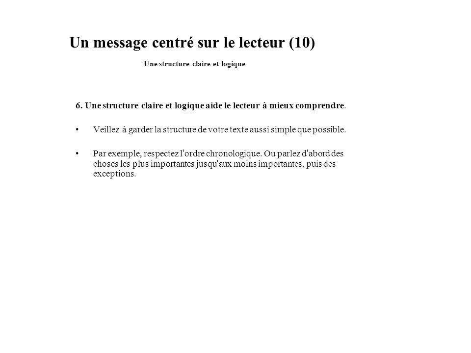 Un message centré sur le lecteur (10) Une structure claire et logique 6. Une structure claire et logique aide le lecteur à mieux comprendre. Veillez à