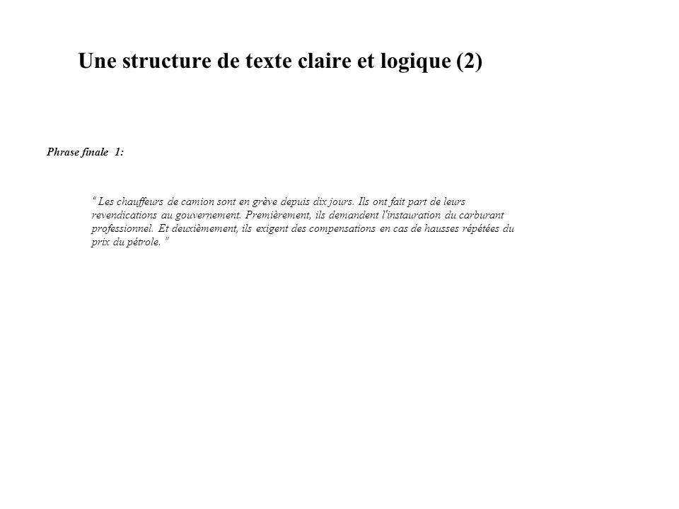 Une structure de texte claire et logique (3) 8.