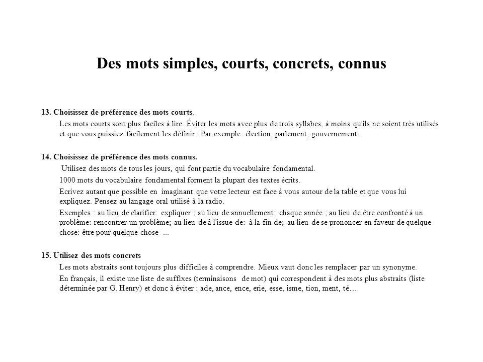 Des mots simples, courts, concrets, connus (2) 16.