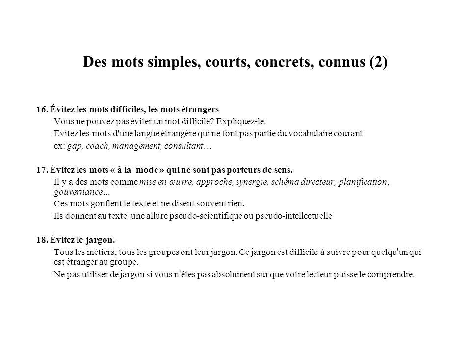 Des mots simples, courts, concrets, connus (3) 19.