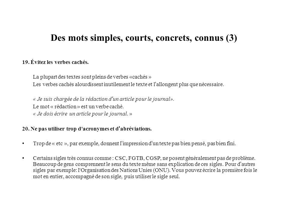 Des mots simples, courts, concrets, connus (4) 21.