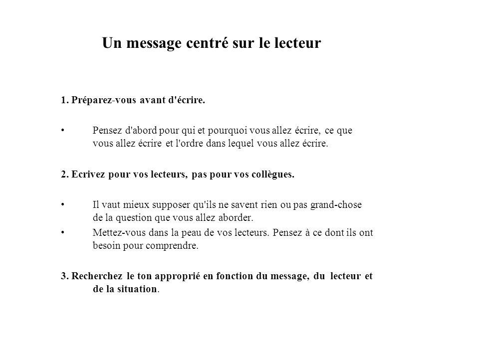 Un message centré sur le lecteur (2) Adressez-vous à votre lecteur.