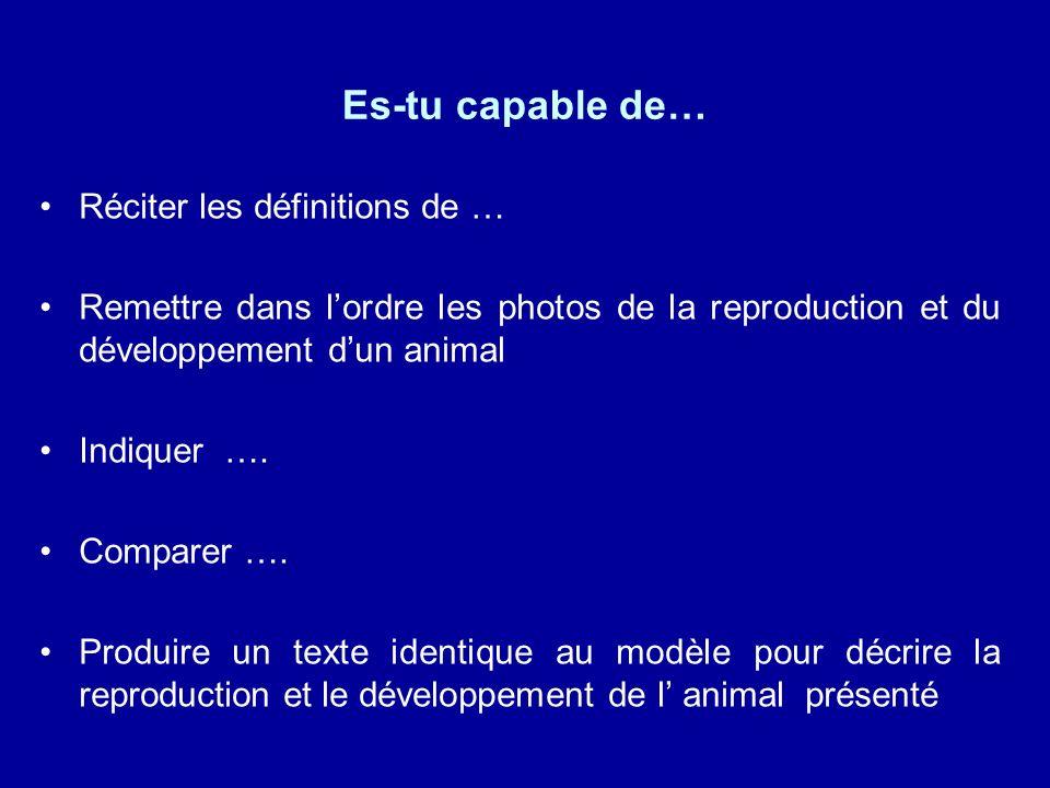 Es-tu capable de… Réciter les définitions de … Remettre dans lordre les photos de la reproduction et du développement dun animal Indiquer ….