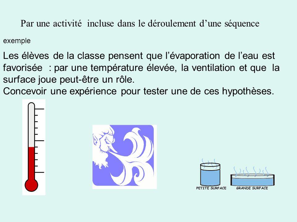 Les élèves de la classe pensent que lévaporation de leau est favorisée : par une température élevée, la ventilation et que la surface joue peut-être un rôle.
