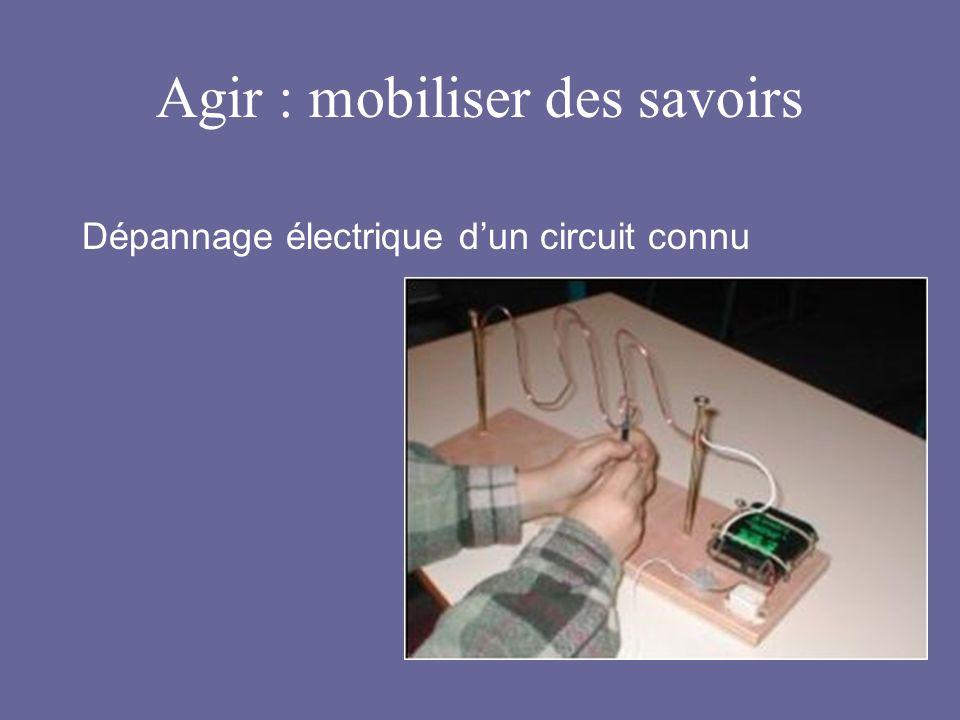 Agir : mobiliser des savoirs Dépannage électrique dun circuit connu