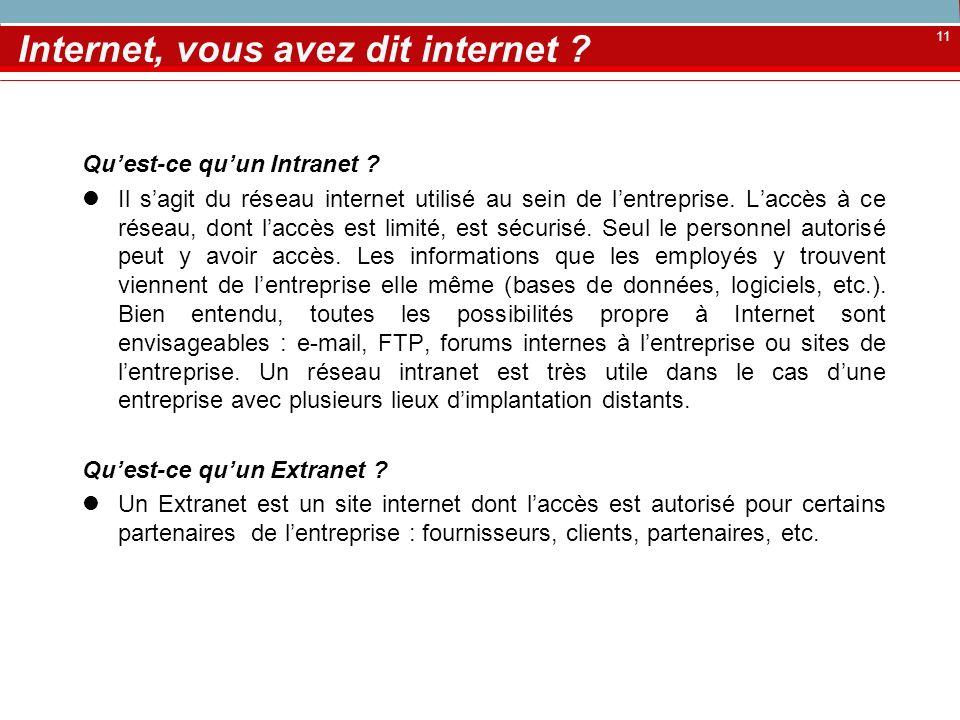 11 Internet, vous avez dit internet ? Quest-ce quun Intranet ? Il sagit du réseau internet utilisé au sein de lentreprise. Laccès à ce réseau, dont la