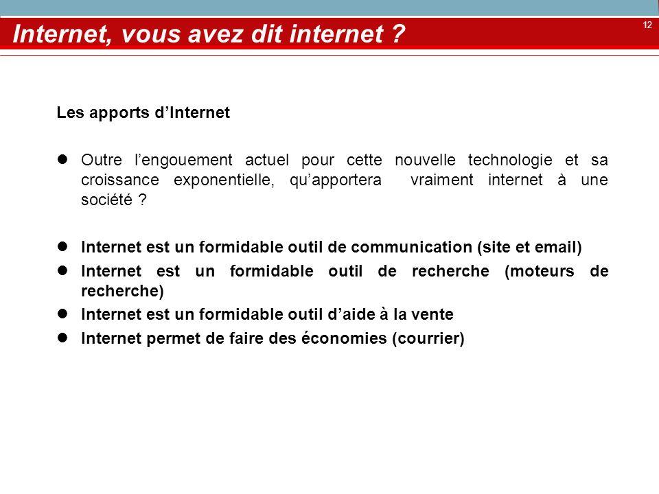 12 Internet, vous avez dit internet ? Les apports dInternet Outre lengouement actuel pour cette nouvelle technologie et sa croissance exponentielle, q