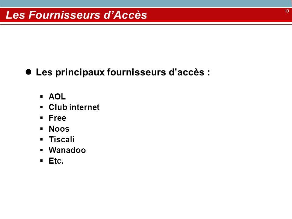13 Les Fournisseurs dAccès Les principaux fournisseurs daccès : AOL Club internet Free Noos Tiscali Wanadoo Etc.