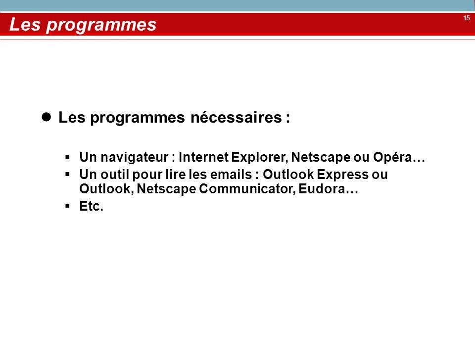 15 Les programmes Les programmes nécessaires : Un navigateur : Internet Explorer, Netscape ou Opéra… Un outil pour lire les emails : Outlook Express o