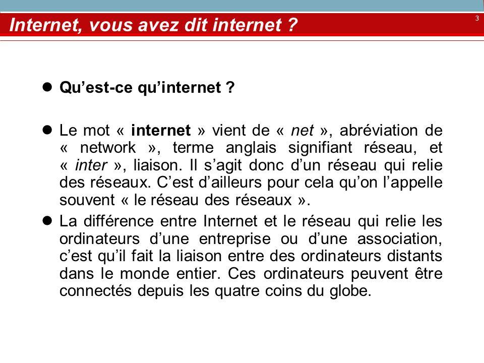 3 Internet, vous avez dit internet ? Quest-ce quinternet ? Le mot « internet » vient de « net », abréviation de « network », terme anglais signifiant