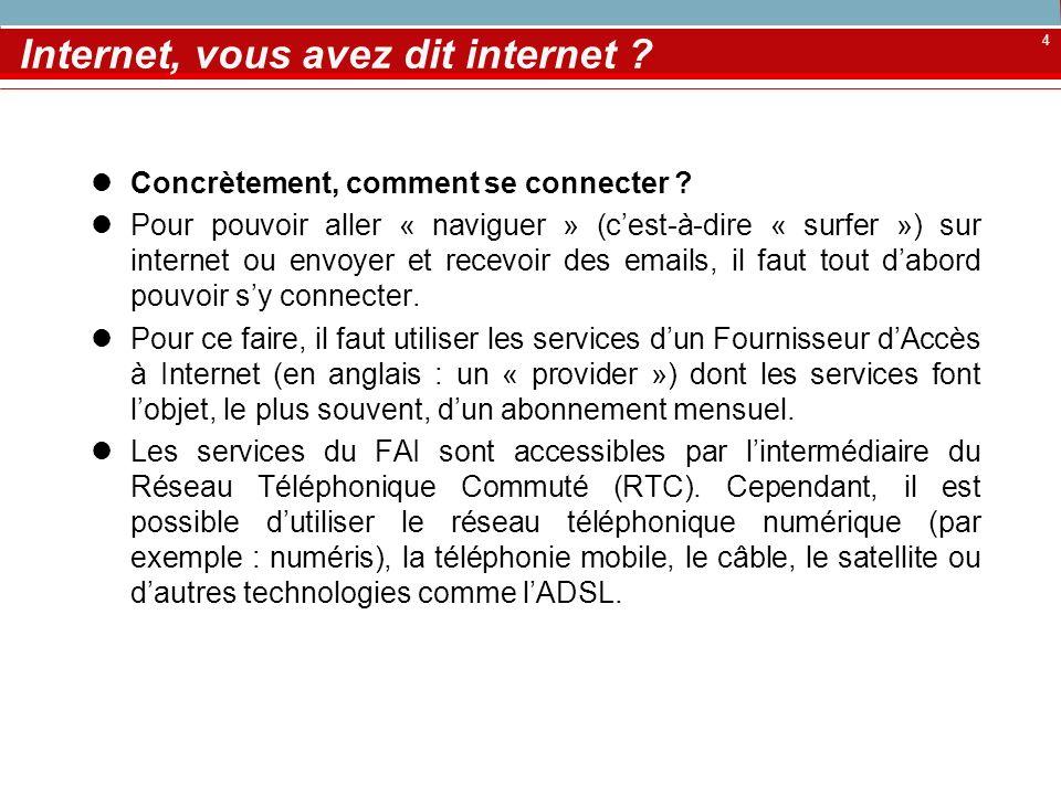 4 Internet, vous avez dit internet ? Concrètement, comment se connecter ? Pour pouvoir aller « naviguer » (cest-à-dire « surfer ») sur internet ou env