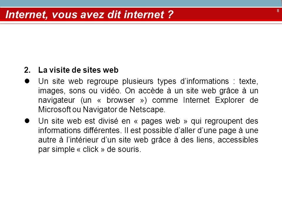 8 Internet, vous avez dit internet ? 2.La visite de sites web Un site web regroupe plusieurs types dinformations : texte, images, sons ou vidéo. On ac