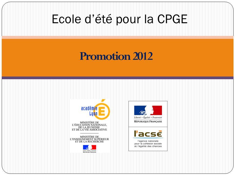 Ecole dété pour la CPGE Promotion 2012
