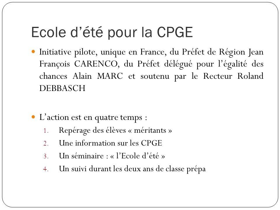 Ecole dété pour la CPGE Initiative pilote, unique en France, du Préfet de Région Jean François CARENCO, du Préfet délégué pour légalité des chances Al