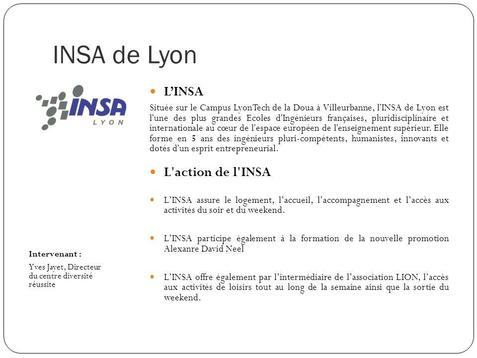 INSA de Lyon Intervenant : Yves Jayet, Directeur du centre diversité réussite LINSA Située sur le Campus LyonTech de la Doua à Villeurbanne, l'INSA de