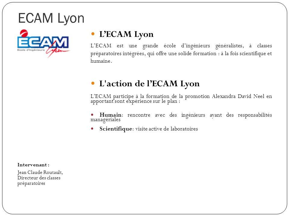 ECAM Lyon Intervenant : Jean Claude Routault, Directeur des classes préparatoires LECAM Lyon LECAM est une grande école dingénieurs généralistes, à cl