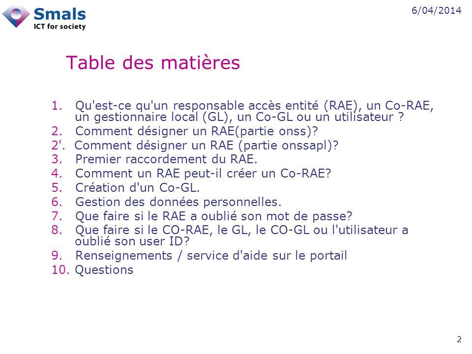 6/04/2014 23 Cliquez sur la Dénomination et non sur la Qualité pour créer des Co-RAE.