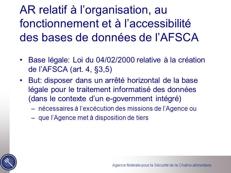Agence fédérale pour la Sécurité de la Chaîne alimentaire AR relatif à lorganisation, au fonctionnement et à laccessibilité des bases de données de lAFSCA Base légale: Loi du 04/02/2000 relative à la création de lAFSCA (art.