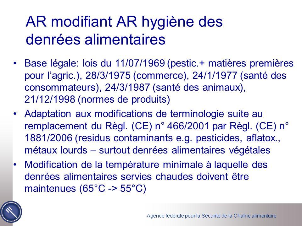 Agence fédérale pour la Sécurité de la Chaîne alimentaire Nouvel AR hygiène des denrées alimentaires dorigine animale Base légale: lois du 05/09/1952 (viande), 15/04/1965 (poisson, volailles, lapins, gibier), 28/03/1975 (produits de lagriculture, de lhorticulture et de la pêche maritime), 24/01/1977 (protection de la santé) Remplace AR H2 (22/12/2005) + adaptation aux modifications du Règ.