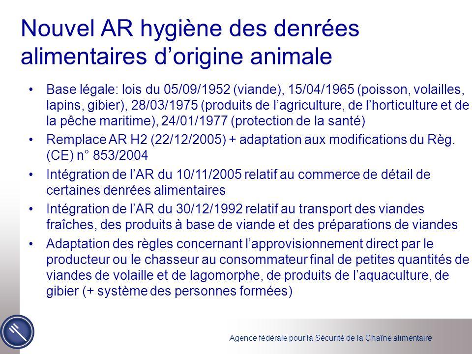 Agence fédérale pour la Sécurité de la Chaîne alimentaire AM relatif à la lutte contre linfluenza aviaire Directive 2005/94/EG AR 05/05/2008 relatif à la lutte contre linfluenza aviaire AM nécessaire Mesures de lutte et de prévention contre IA Concerne IAHP (influenza aviaire hautement pathogène) et IAFP (influenza aviaire faiblement pathogène)