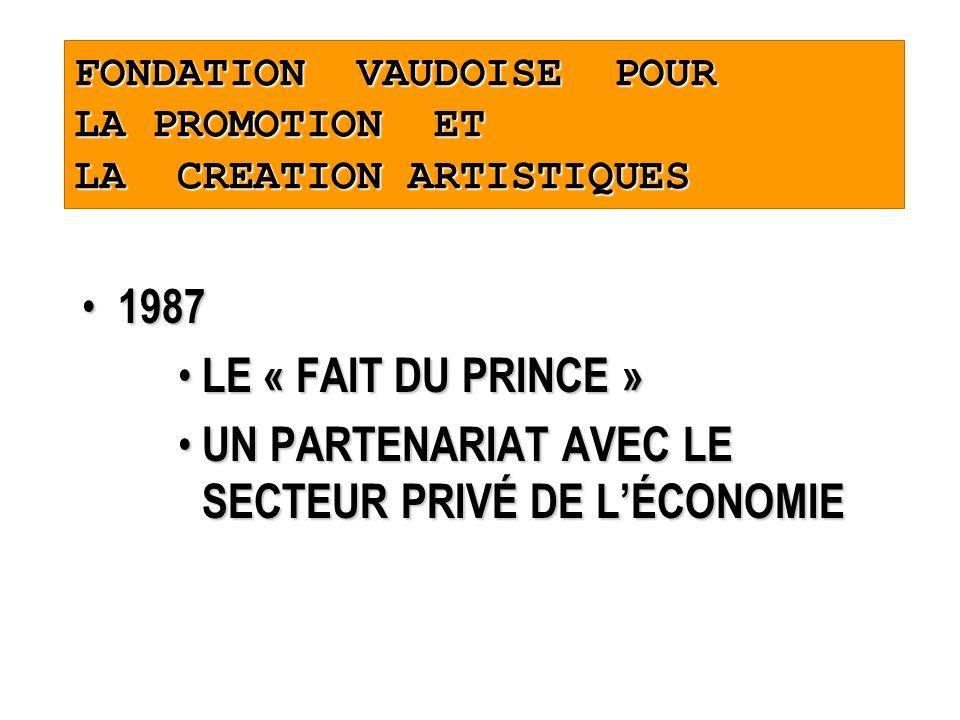 FONDATION VAUDOISE POUR LA PROMOTION ET LA CREATION ARTISTIQUES 1987 1987 LE « FAIT DU PRINCE » LE « FAIT DU PRINCE » UN PARTENARIAT AVEC LE SECTEUR PRIVÉ DE LÉCONOMIE UN PARTENARIAT AVEC LE SECTEUR PRIVÉ DE LÉCONOMIE
