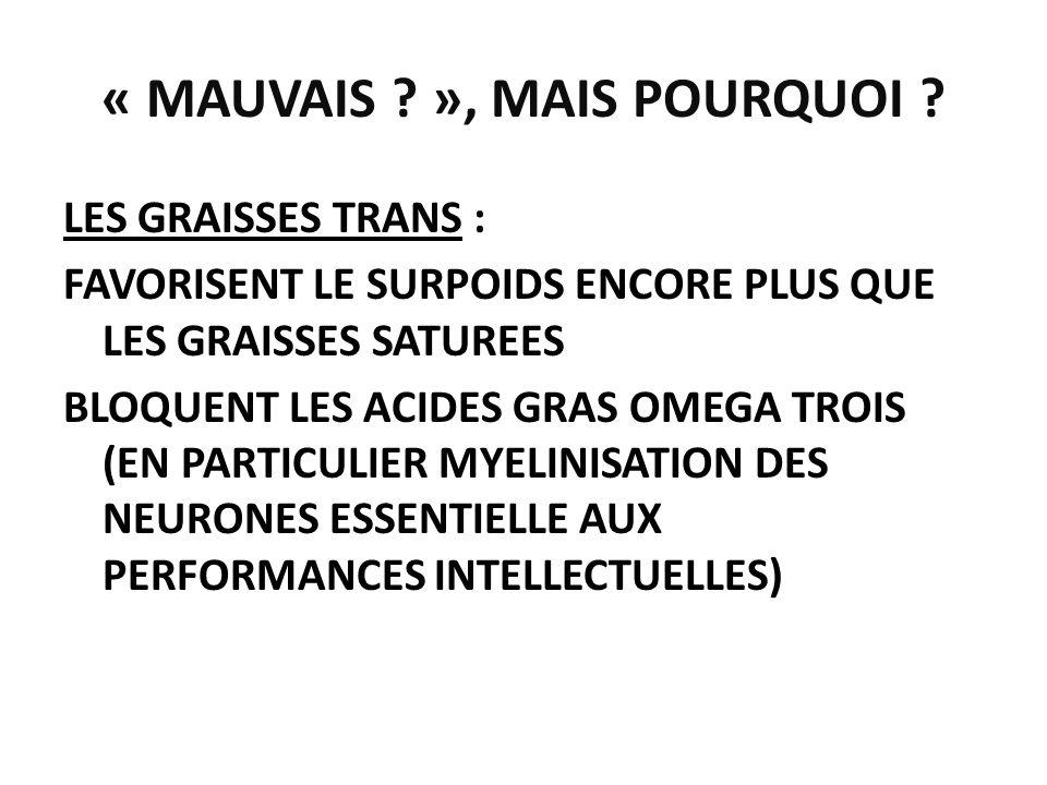 « MAUVAIS ? », MAIS POURQUOI ? LES GRAISSES TRANS : FAVORISENT LE SURPOIDS ENCORE PLUS QUE LES GRAISSES SATUREES BLOQUENT LES ACIDES GRAS OMEGA TROIS