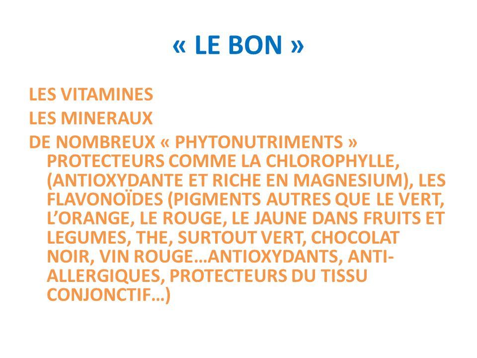 « LE BON » LES VITAMINES LES MINERAUX DE NOMBREUX « PHYTONUTRIMENTS » PROTECTEURS COMME LA CHLOROPHYLLE, (ANTIOXYDANTE ET RICHE EN MAGNESIUM), LES FLA