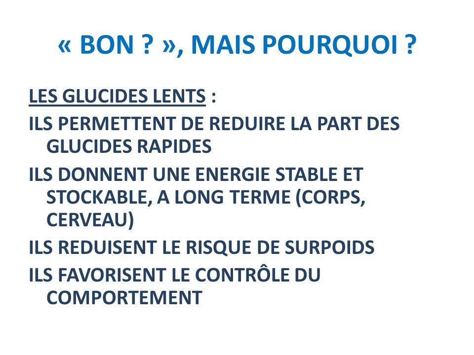 « BON ? », MAIS POURQUOI ? LES GLUCIDES LENTS : ILS PERMETTENT DE REDUIRE LA PART DES GLUCIDES RAPIDES ILS DONNENT UNE ENERGIE STABLE ET STOCKABLE, A