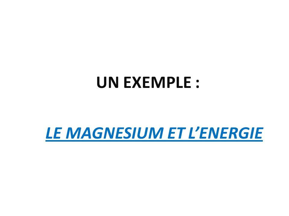 UN EXEMPLE : LE MAGNESIUM ET LENERGIE