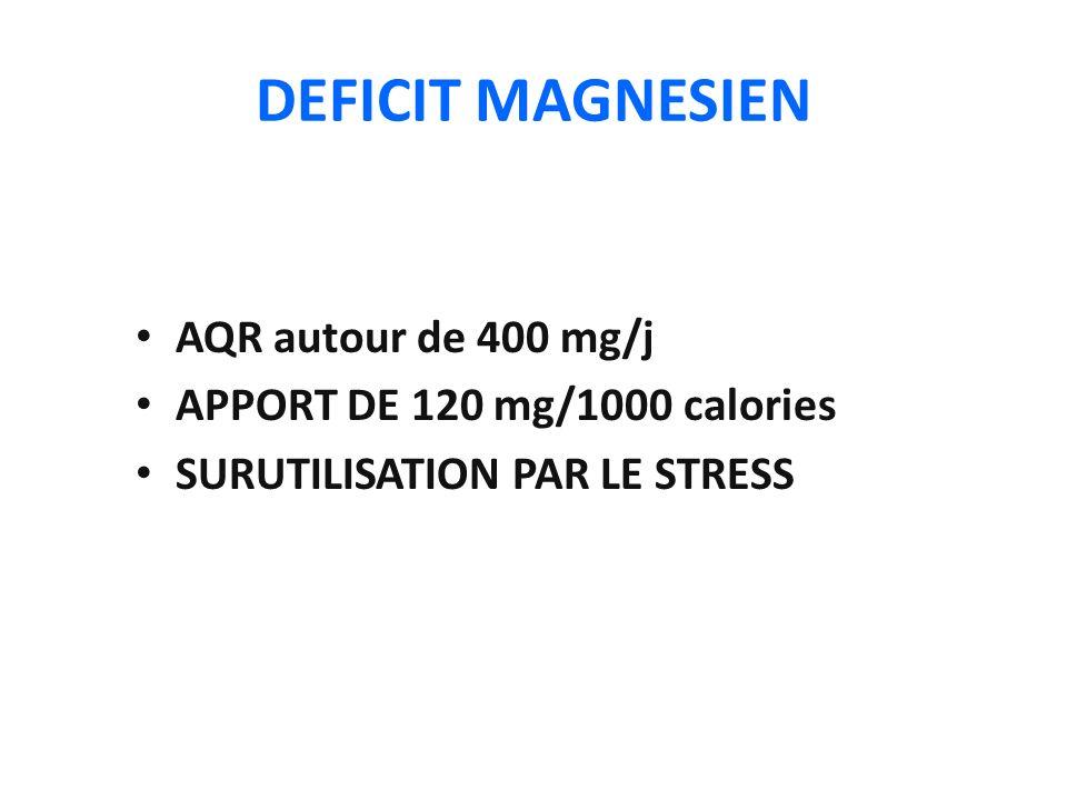 DEFICIT MAGNESIEN AQR autour de 400 mg/j APPORT DE 120 mg/1000 calories SURUTILISATION PAR LE STRESS