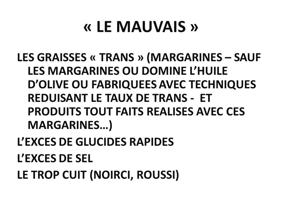« LE MAUVAIS » LES GRAISSES « TRANS » (MARGARINES – SAUF LES MARGARINES OU DOMINE LHUILE DOLIVE OU FABRIQUEES AVEC TECHNIQUES REDUISANT LE TAUX DE TRA