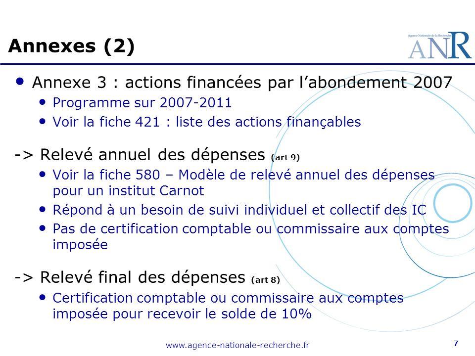 www.agence-nationale-recherche.fr 7 Annexe 3 : actions financées par labondement 2007 Programme sur 2007-2011 Voir la fiche 421 : liste des actions fi