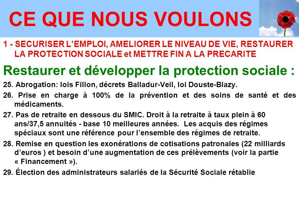 1 - SECURISER LEMPLOI, AMELIORER LE NIVEAU DE VIE, RESTAURER LA PROTECTION SOCIALE et METTRE FIN A LA PRECARITE Restaurer et développer la protection sociale : 25.