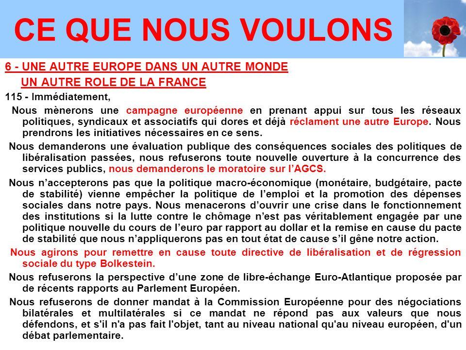 6 - UNE AUTRE EUROPE DANS UN AUTRE MONDE UN AUTRE ROLE DE LA FRANCE 115 - Immédiatement, Nous mènerons une campagne européenne en prenant appui sur tous les réseaux politiques, syndicaux et associatifs qui dores et déjà réclament une autre Europe.