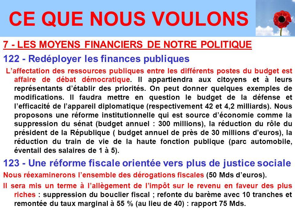 7 - LES MOYENS FINANCIERS DE NOTRE POLITIQUE 122 - Redéployer les finances publiques Laffectation des ressources publiques entre les différents postes du budget est affaire de débat démocratique.