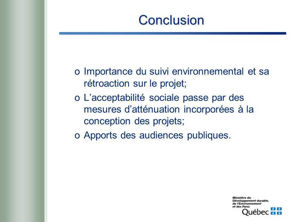 Conclusion oImportance du suivi environnemental et sa rétroaction sur le projet; oLacceptabilité sociale passe par des mesures datténuation incorporées à la conception des projets; oApports des audiences publiques.
