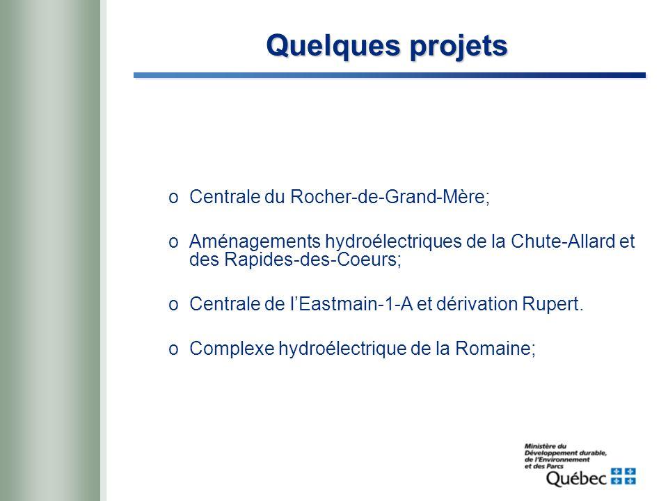 Quelques projets oCentrale du Rocher-de-Grand-Mère; oAménagements hydroélectriques de la Chute-Allard et des Rapides-des-Coeurs; oCentrale de lEastmain-1-A et dérivation Rupert.