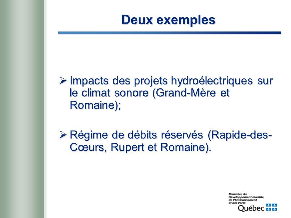 Deux exemples Impacts des projets hydroélectriques sur le climat sonore (Grand-Mère et Romaine); Impacts des projets hydroélectriques sur le climat sonore (Grand-Mère et Romaine); Régime de débits réservés (Rapide-des- Cœurs, Rupert et Romaine).