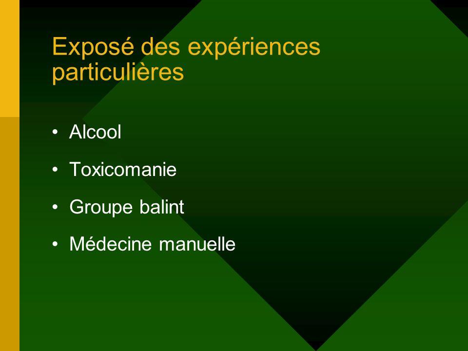 Exposé des expériences particulières Alcool Toxicomanie Groupe balint Médecine manuelle