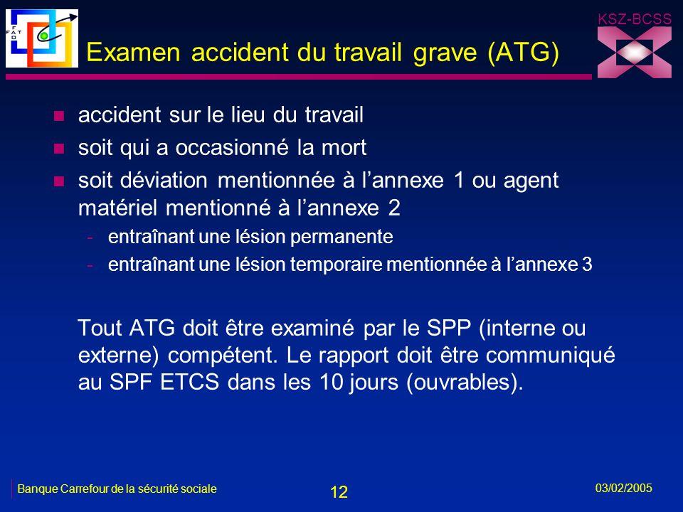 12 KSZ-BCSS 03/02/2005 Banque Carrefour de la sécurité sociale Examen accident du travail grave (ATG) n accident sur le lieu du travail n soit qui a occasionné la mort n soit déviation mentionnée à lannexe 1 ou agent matériel mentionné à lannexe 2 -entraînant une lésion permanente -entraînant une lésion temporaire mentionnée à lannexe 3 Tout ATG doit être examiné par le SPP (interne ou externe) compétent.