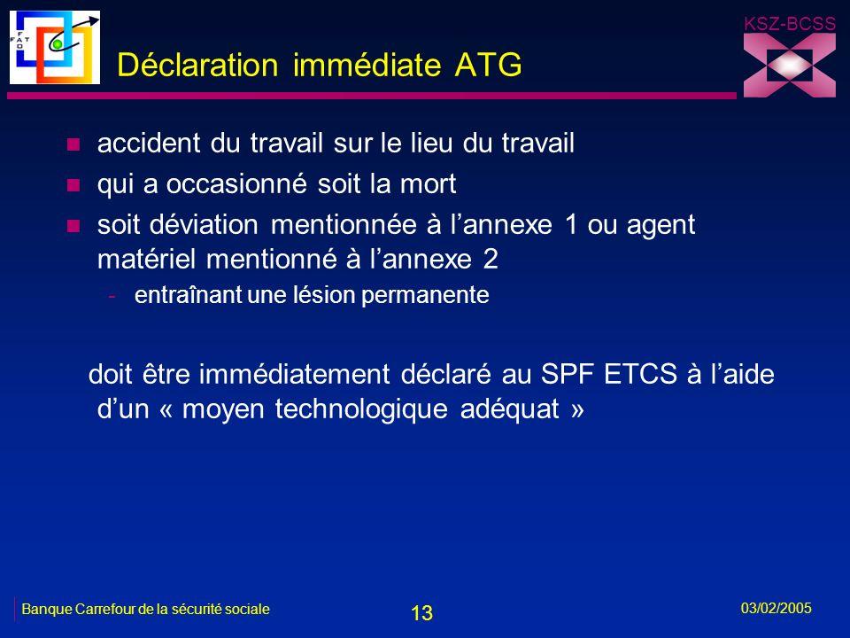 13 KSZ-BCSS 03/02/2005 Banque Carrefour de la sécurité sociale Déclaration immédiate ATG n accident du travail sur le lieu du travail n qui a occasionné soit la mort n soit déviation mentionnée à lannexe 1 ou agent matériel mentionné à lannexe 2 -entraînant une lésion permanente doit être immédiatement déclaré au SPF ETCS à laide dun « moyen technologique adéquat »