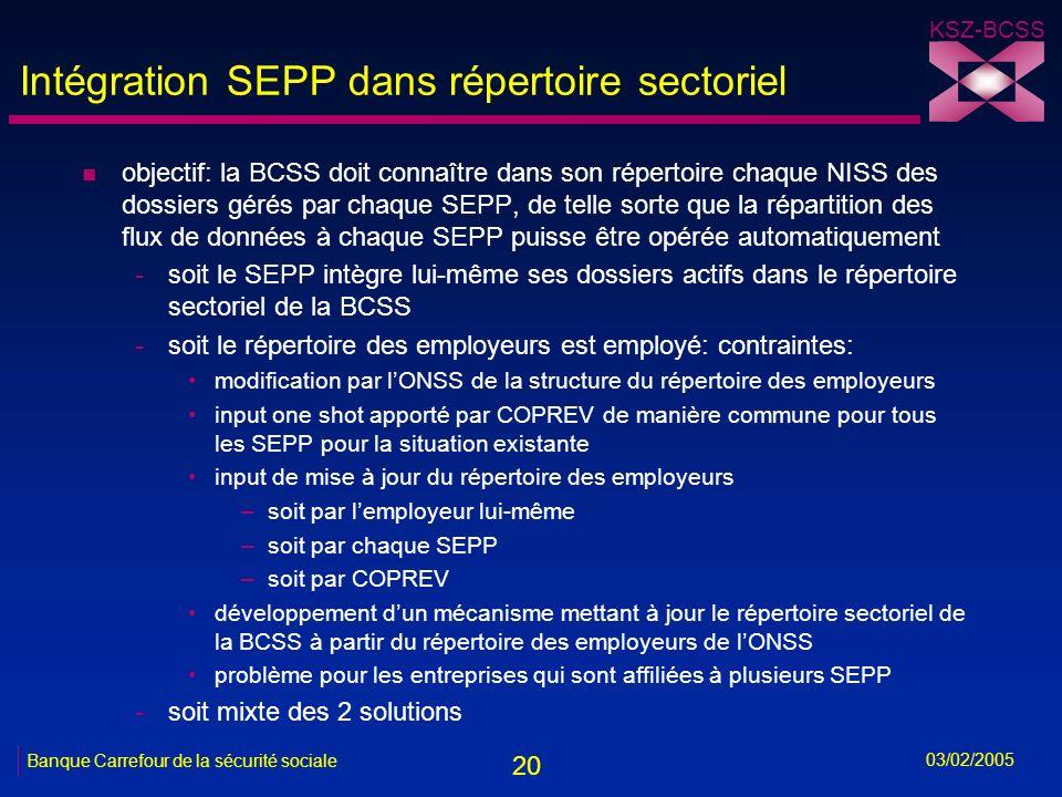 20 KSZ-BCSS 03/02/2005 Banque Carrefour de la sécurité sociale Intégration SEPP dans répertoire sectoriel n objectif: la BCSS doit connaître dans son répertoire chaque NISS des dossiers gérés par chaque SEPP, de telle sorte que la répartition des flux de données à chaque SEPP puisse être opérée automatiquement -soit le SEPP intègre lui-même ses dossiers actifs dans le répertoire sectoriel de la BCSS -soit le répertoire des employeurs est employé: contraintes: modification par lONSS de la structure du répertoire des employeurs input one shot apporté par COPREV de manière commune pour tous les SEPP pour la situation existante input de mise à jour du répertoire des employeurs –soit par lemployeur lui-même –soit par chaque SEPP –soit par COPREV développement dun mécanisme mettant à jour le répertoire sectoriel de la BCSS à partir du répertoire des employeurs de lONSS problème pour les entreprises qui sont affiliées à plusieurs SEPP -soit mixte des 2 solutions