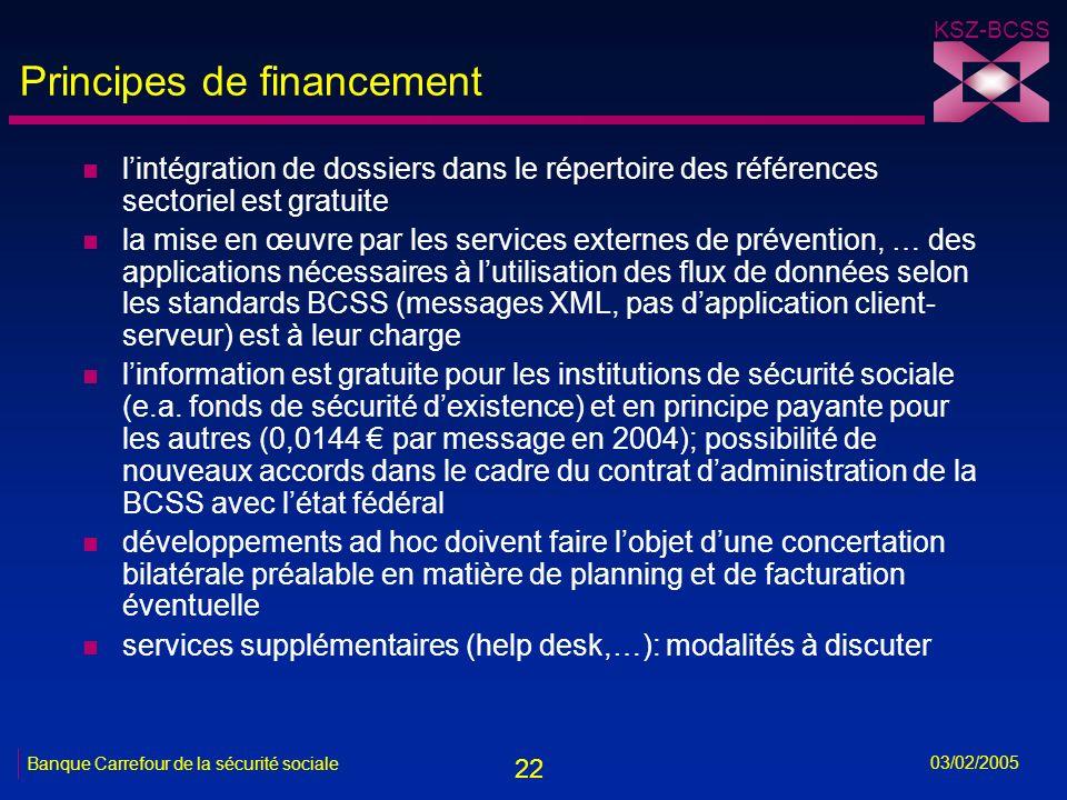 22 KSZ-BCSS 03/02/2005 Banque Carrefour de la sécurité sociale Principes de financement n lintégration de dossiers dans le répertoire des références sectoriel est gratuite n la mise en œuvre par les services externes de prévention, … des applications nécessaires à lutilisation des flux de données selon les standards BCSS (messages XML, pas dapplication client- serveur) est à leur charge n linformation est gratuite pour les institutions de sécurité sociale (e.a.