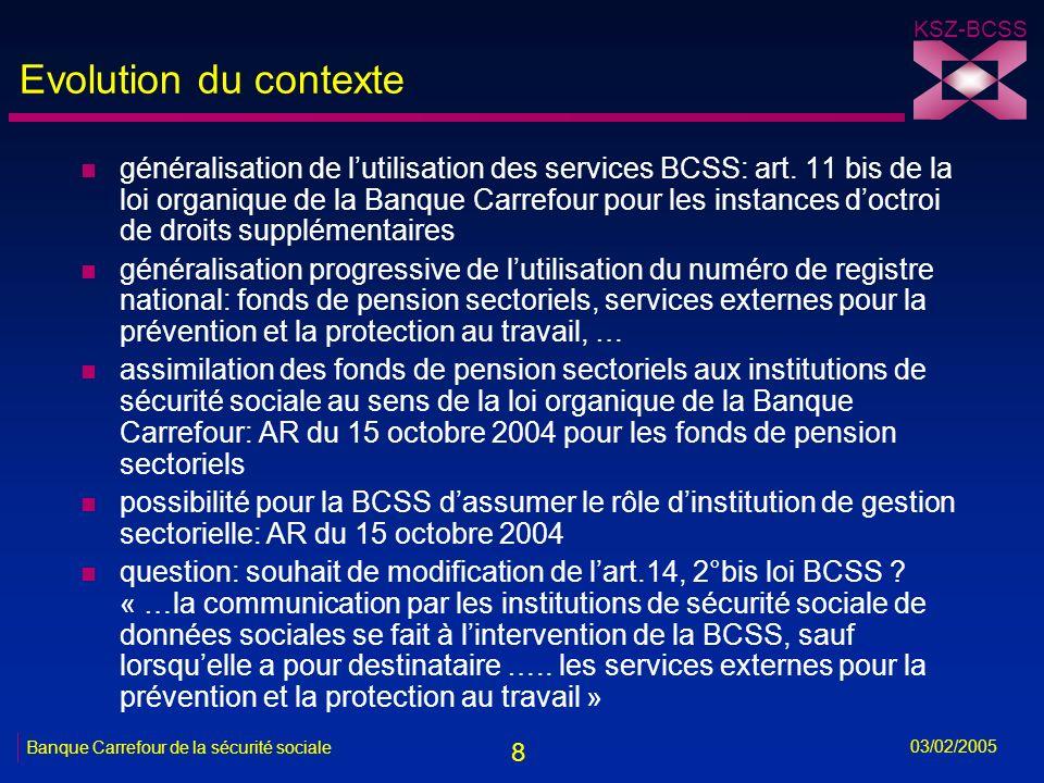 19 KSZ-BCSS 03/02/2005 Banque Carrefour de la sécurité sociale Solution pour les SEPP n accord de principe sur la création dun répertoire sectoriel SEPP au sein de la BCSS n nécessité dautorisation du Comité sectoriel de la sécurité sociale et respect strict des principes de finalité et de proportionnalité lors de la communication des données n utilisation obligatoire du numéro didentification de la sécurité sociale (NISS) -soit numéro national -soit numéro BCSS n aide possible à lattribution de NISS -recherche phonétique -recherche sur adresse -recherche sur NISS -proposition dattribution de n° BCSS -traitement ad hoc de certains fichiers par la BCSS n détermination des besoins et coordination du secteur par COPREV n homogénéité des solutions fonctionnelles et techniques pour tous les SEPP