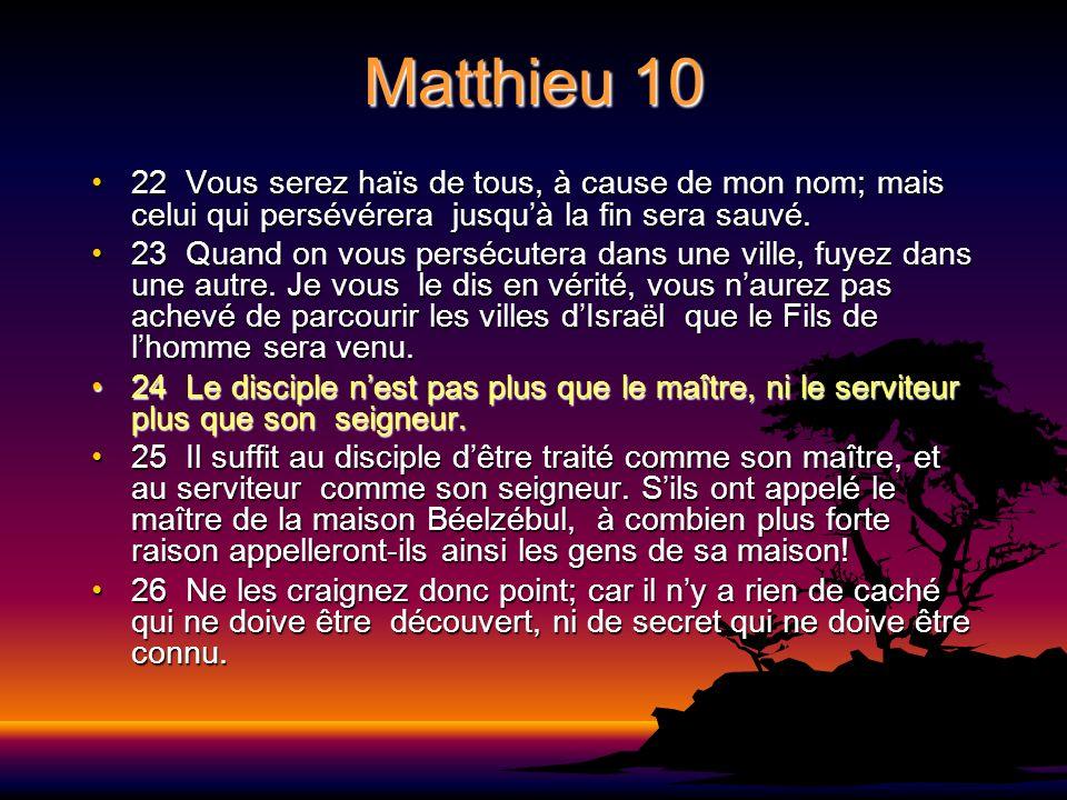 Matthieu 10 22 Vous serez haïs de tous, à cause de mon nom; mais celui qui persévérera jusquà la fin sera sauvé.22 Vous serez haïs de tous, à cause de
