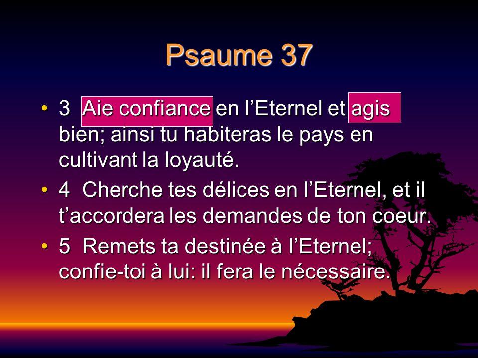 Psaume 37 3 Aie confiance en lEternel et agis bien; ainsi tu habiteras le pays en cultivant la loyauté.3 Aie confiance en lEternel et agis bien; ainsi