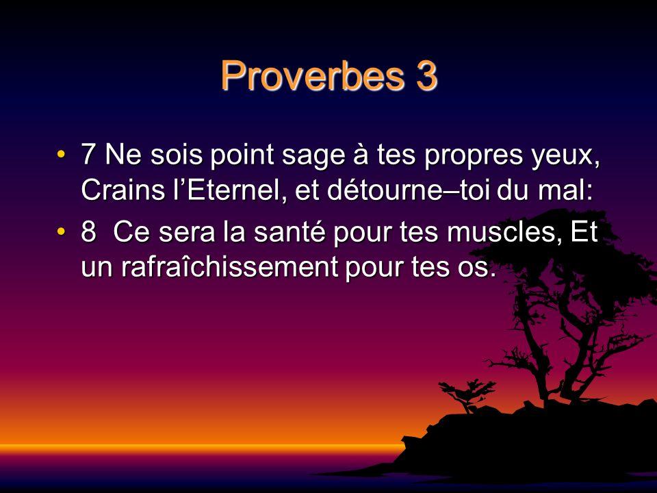 Proverbes 3 7 Ne sois point sage à tes propres yeux, Crains lEternel, et détourne–toi du mal:7 Ne sois point sage à tes propres yeux, Crains lEternel,